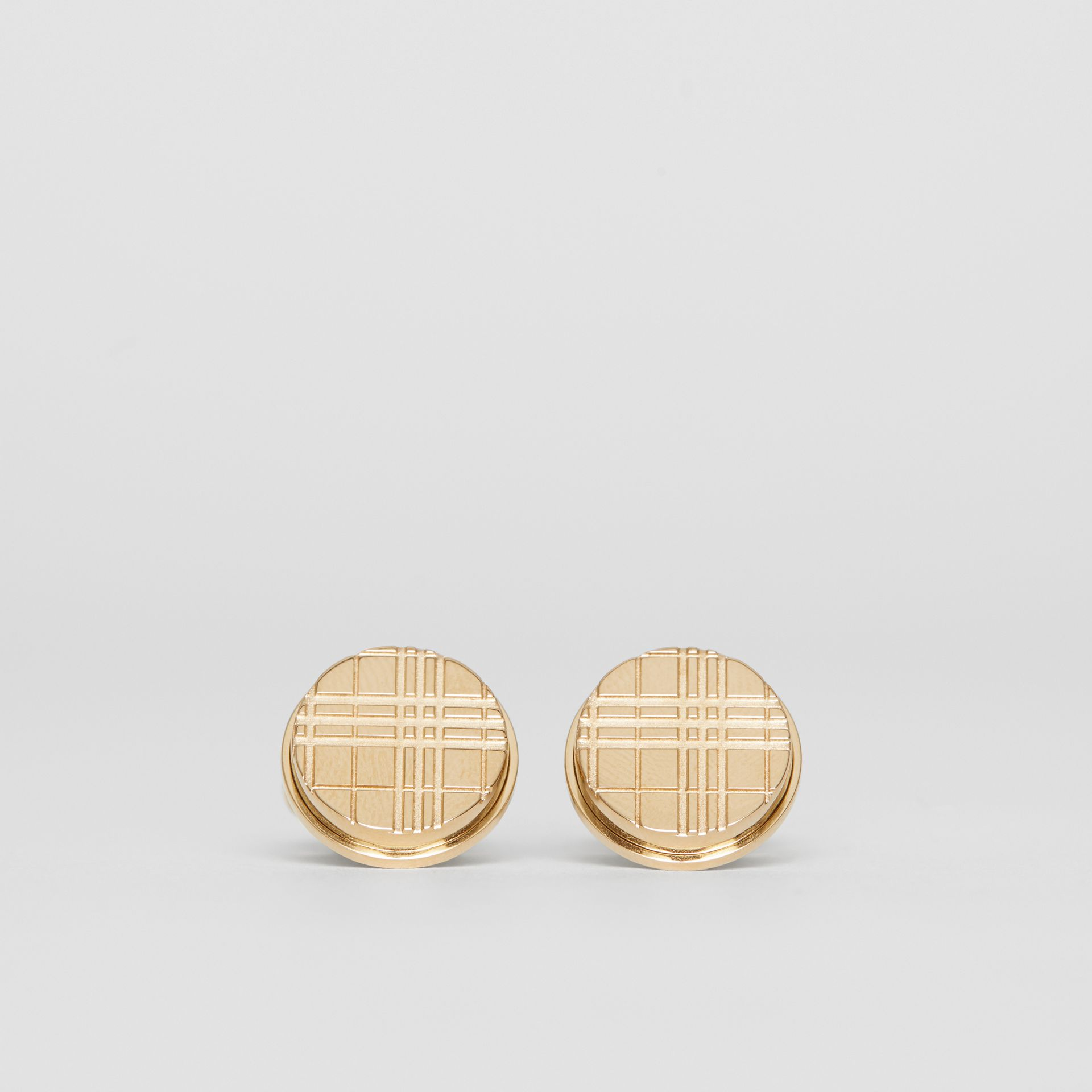 Check-engraved Round Cufflinks in Light Gold - Men | Burberry - gallery image 0