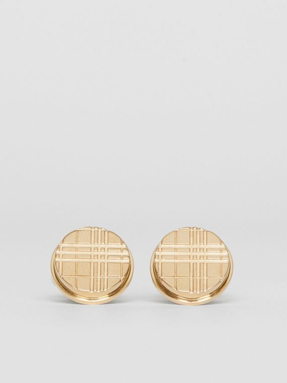 Check-engraved Round Cufflinks in Light Gold