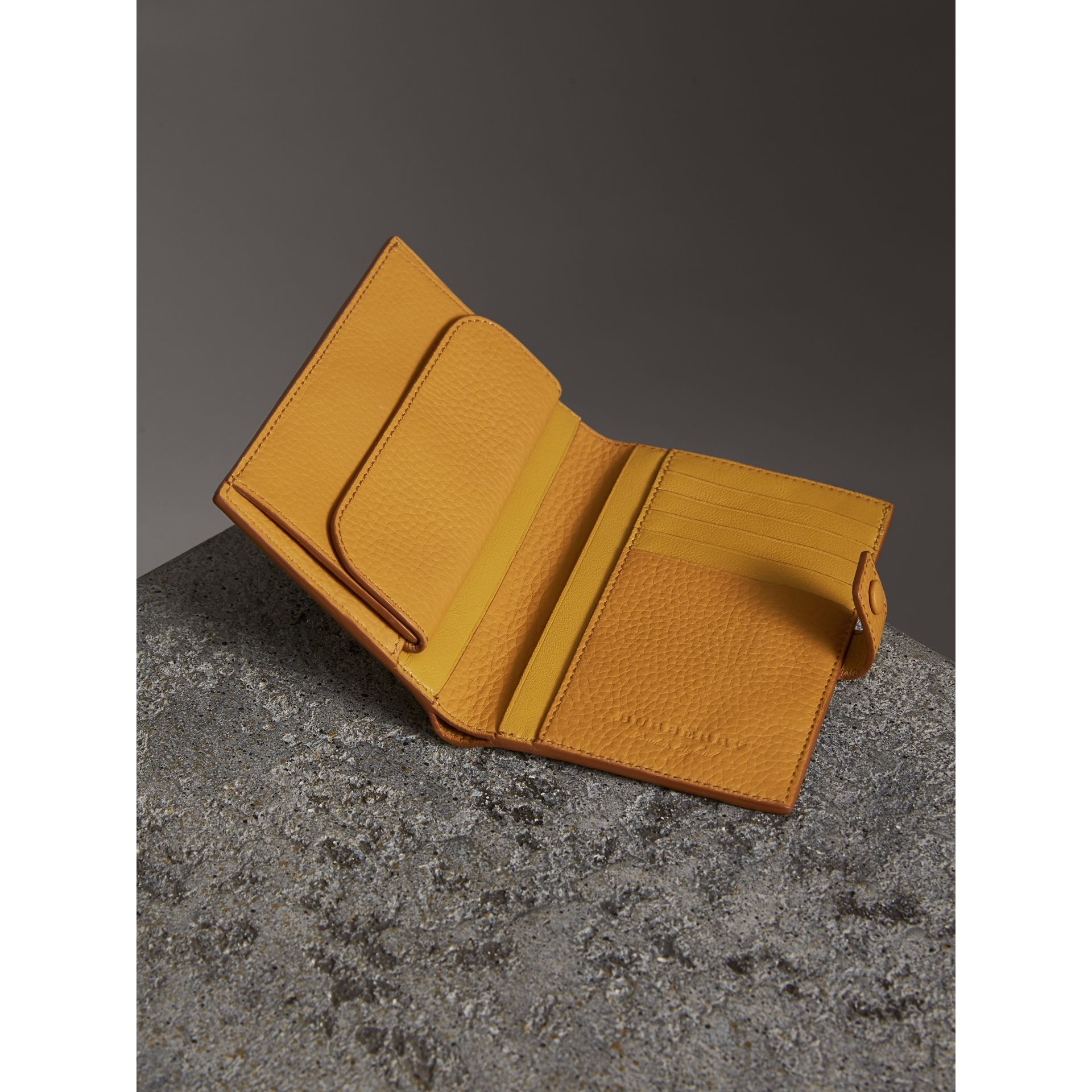 Embossed Grainy Leather Folding Wallet in Ochre Yellow - Women | Burberry - gallery image 3