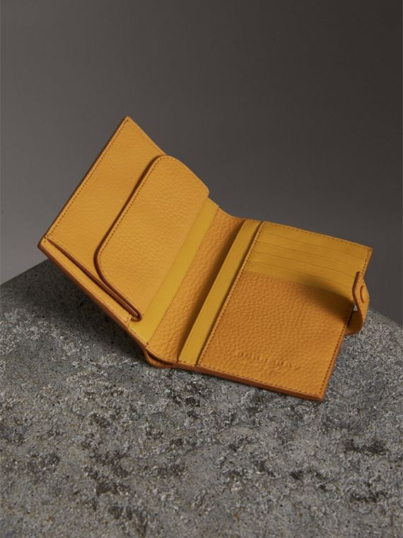 Embossed Grainy Leather Folding Wallet in Ochre Yellow - Women | Burberry - cell image 3