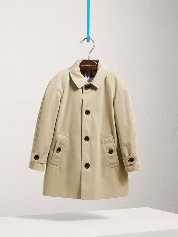 Tropical Gabardine Trench Coat in Sandstone