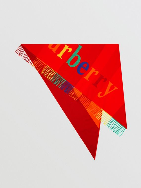 The Burberry Bandana in Logo Detail Wool Cashmere in Bright Red