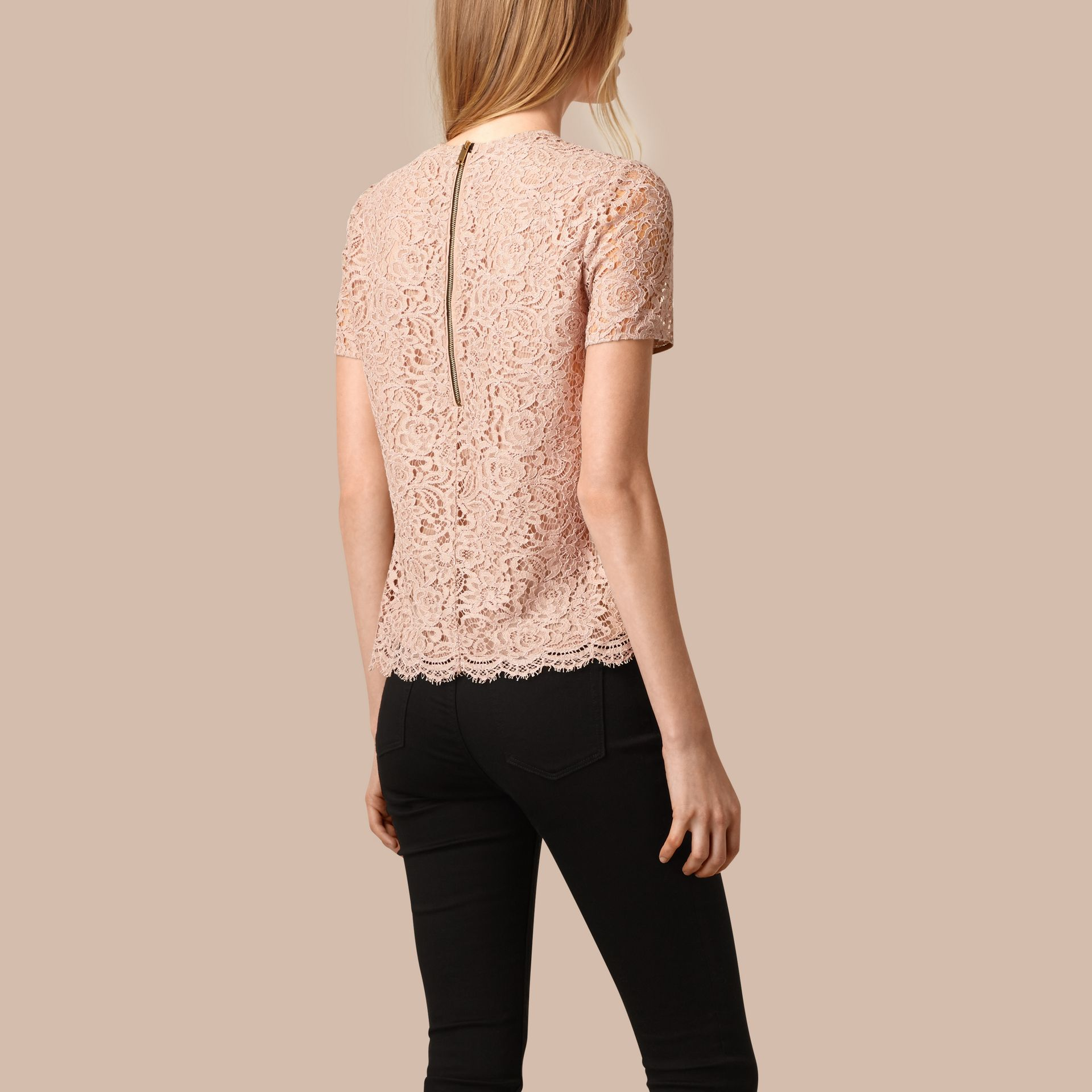 Antique taupe pink Corded Lace T-shirt - gallery image 2