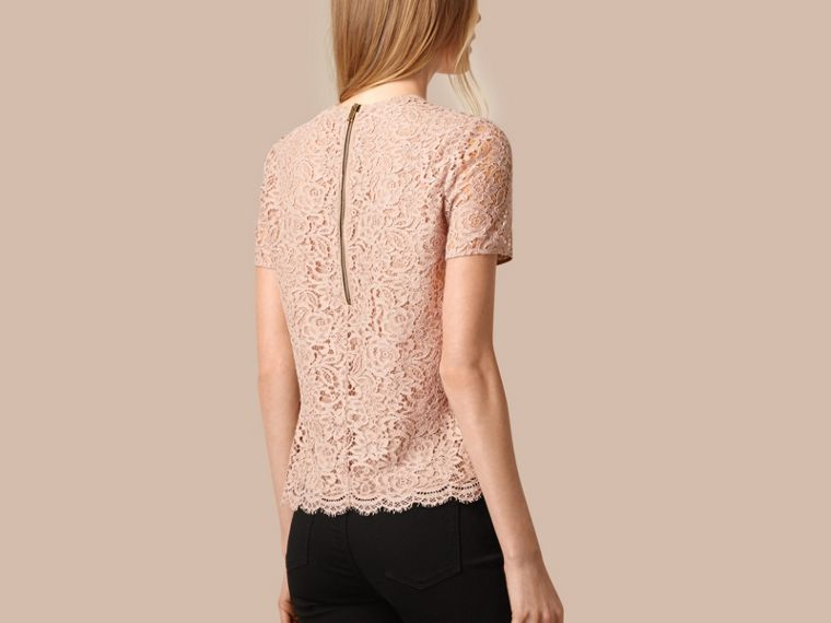 Antique taupe pink Corded Lace T-shirt - cell image 1