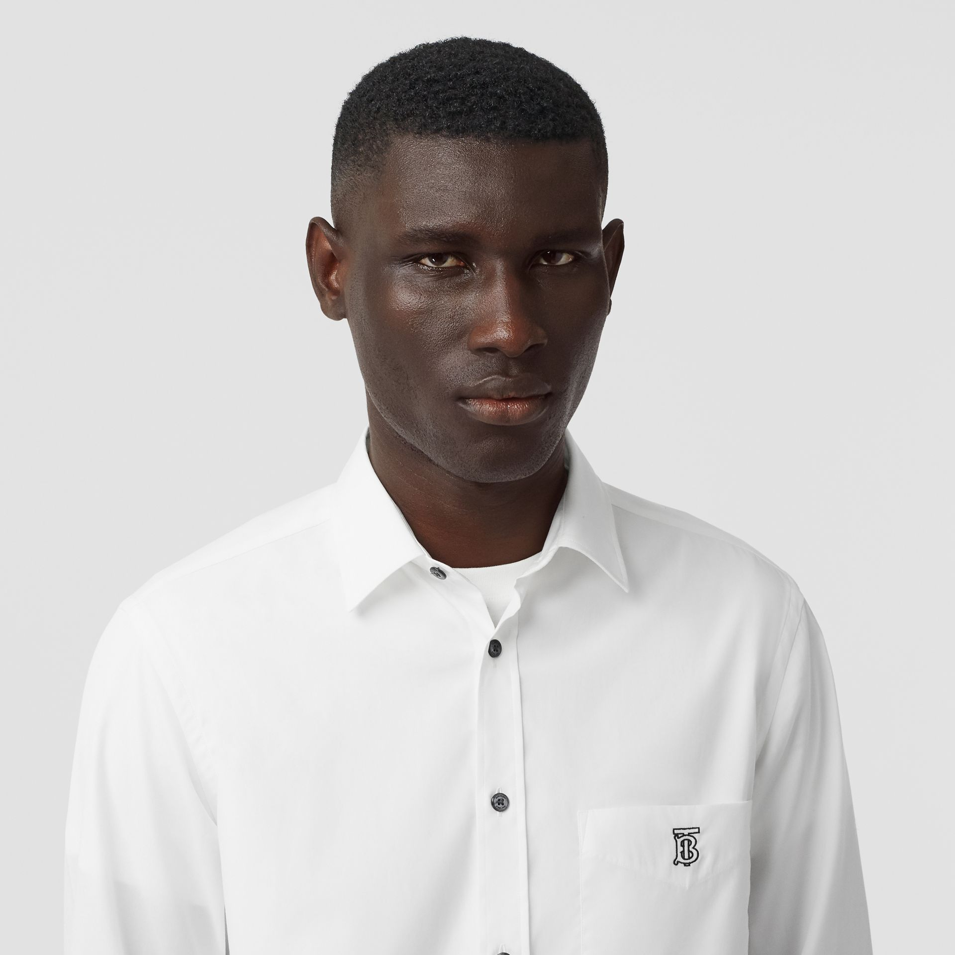 Monogram Motif Stretch Cotton Poplin Shirt in White - Men | Burberry - gallery image 1