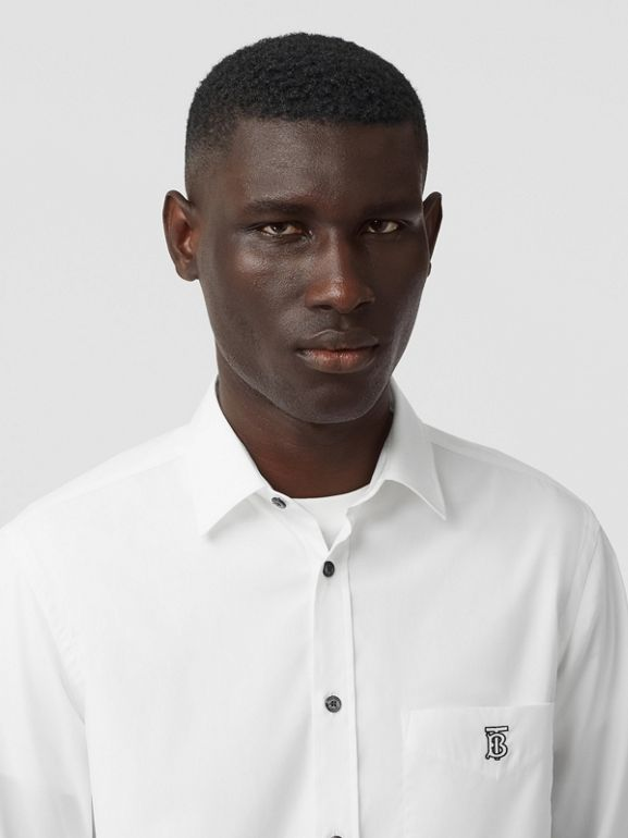 Monogram Motif Stretch Cotton Poplin Shirt in White - Men | Burberry - cell image 1