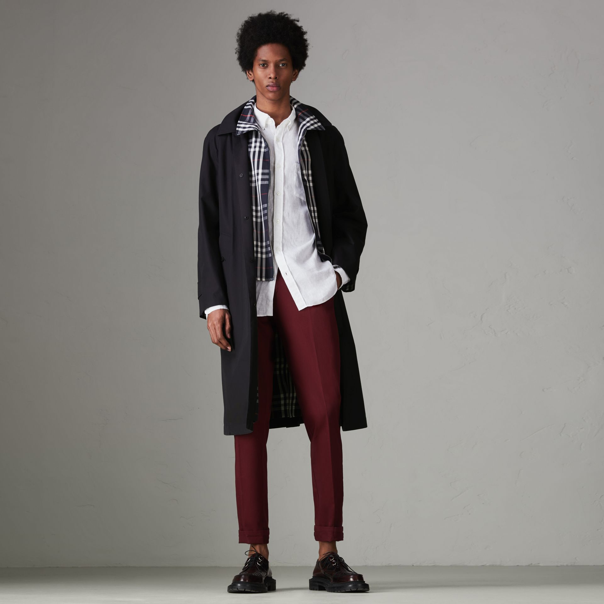 Gosha x Burberry Reconstructed Car Coat in Navy - Men | Burberry - gallery image 7
