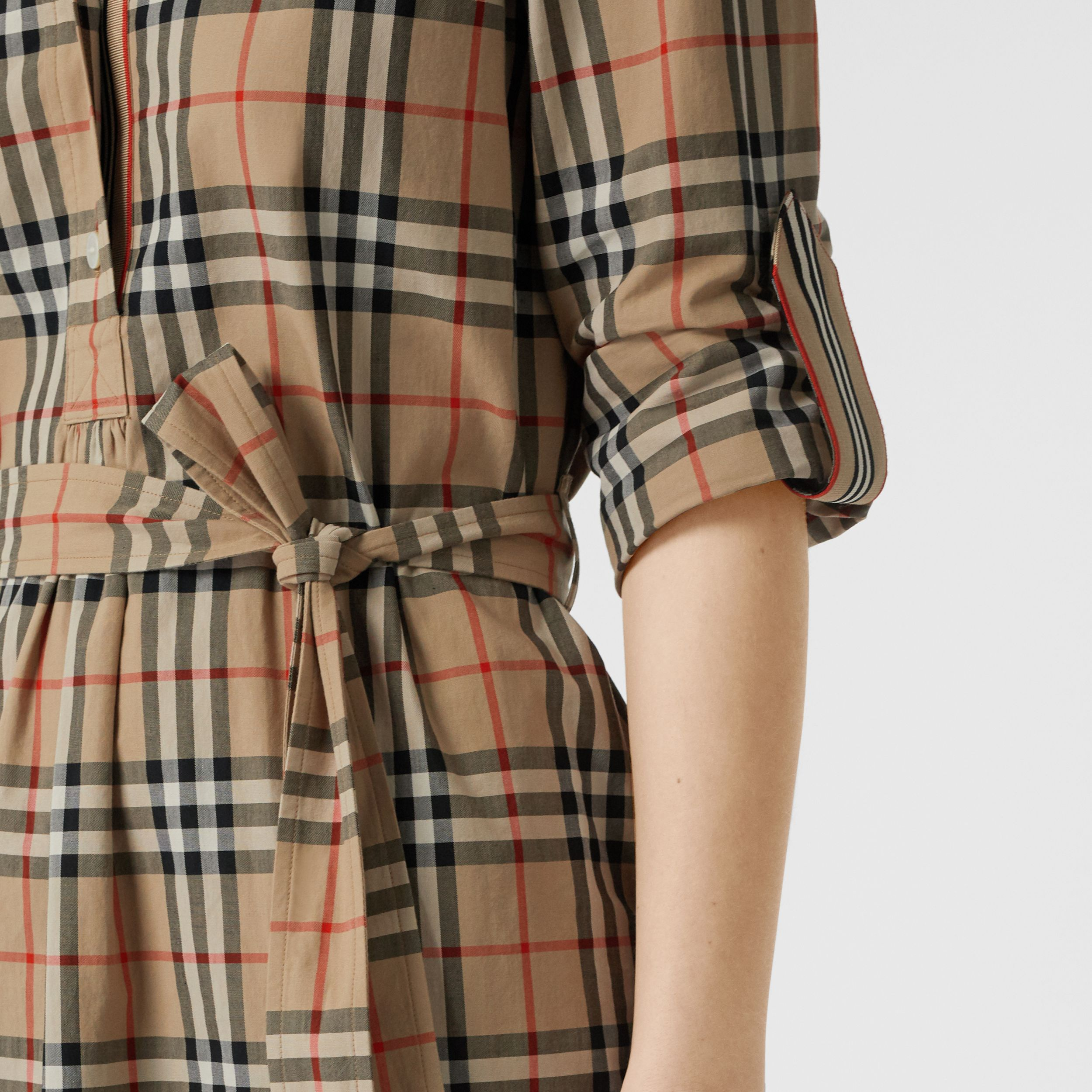 Vintage Check Cotton Tie-waist Shirt Dress in Archive Beige - Women | Burberry - 2