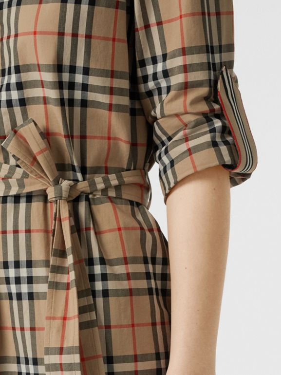 Vintage Check Cotton Tie-waist Shirt Dress in Archive Beige - Women | Burberry United Kingdom - cell image 1