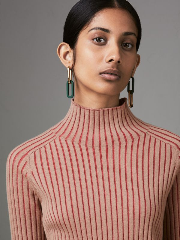 Rubberised and Gold-plated Link Drop Earrings in Light Gold/sea Green - Women | Burberry - cell image 2