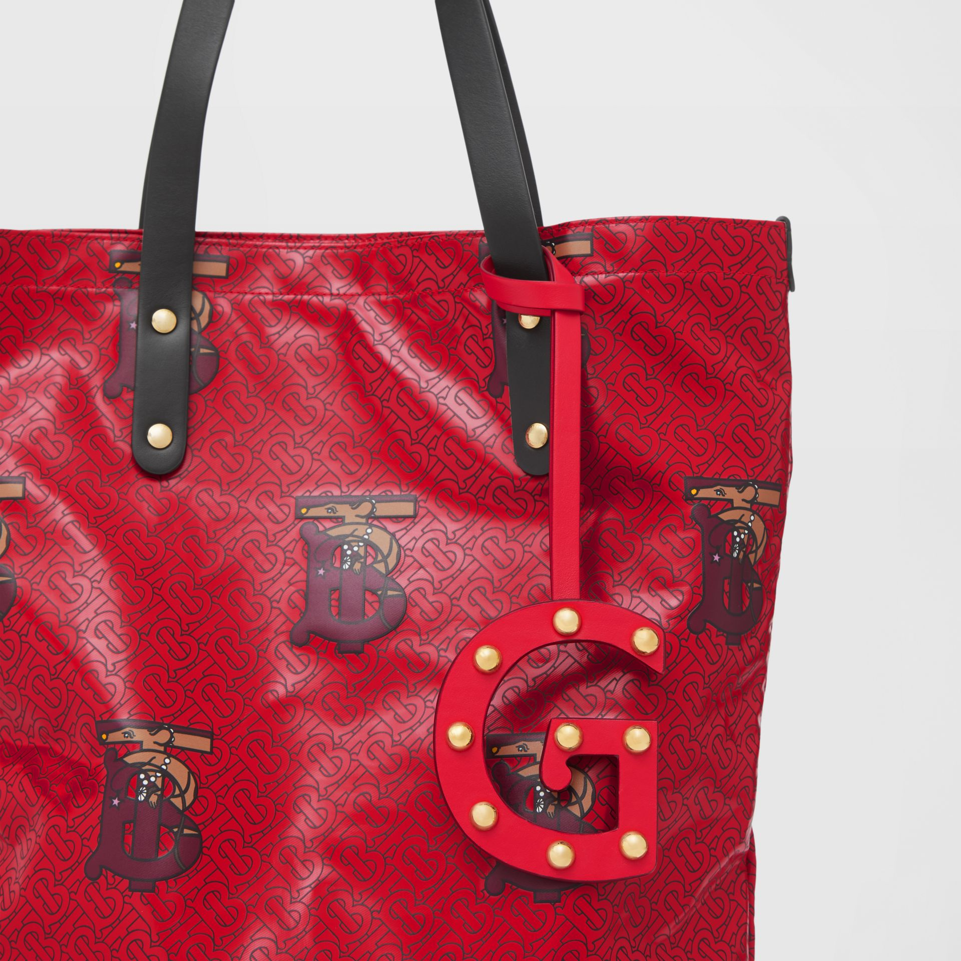 'G' Studded Leather Alphabet Charm in Red/light Gold - Women | Burberry - gallery image 3