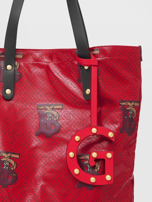 'G' Studded Leather Alphabet Charm in Red/light Gold - Women | Burberry - cell image 3