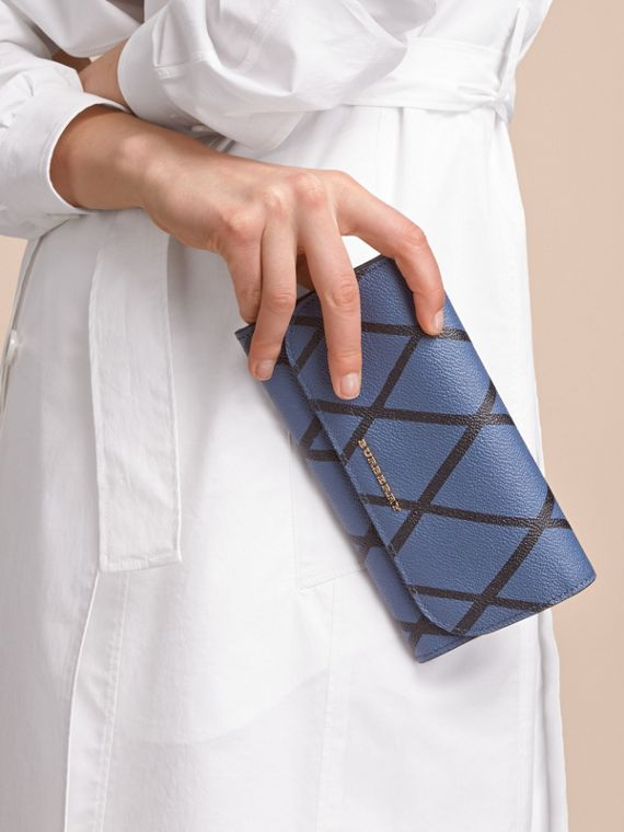 Trompe L'oeil Print Leather Continental Wallet in Steel Blue - Women | Burberry - cell image 2