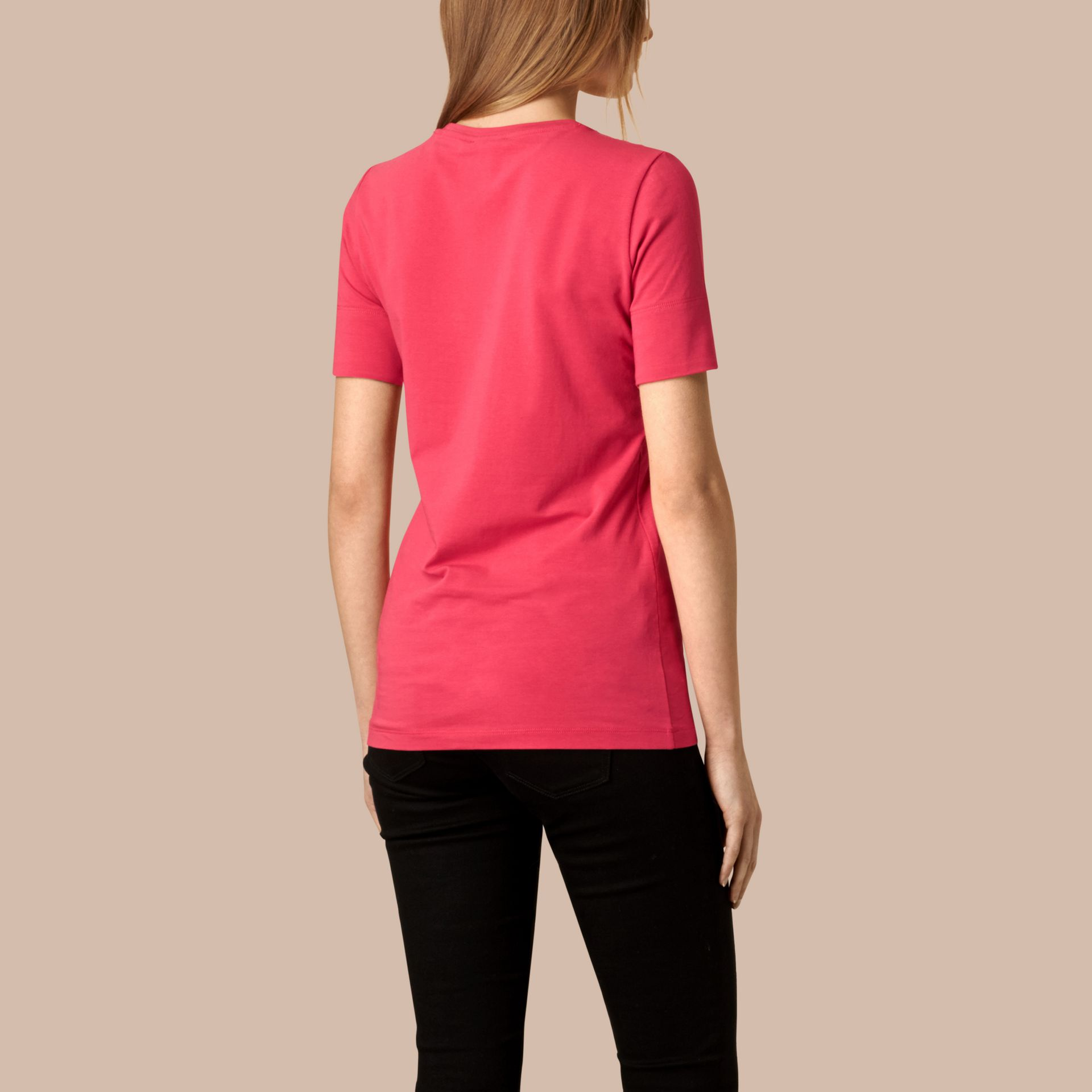Bright rose Check Cuff Stretch Cotton T-Shirt Bright Rose - gallery image 2