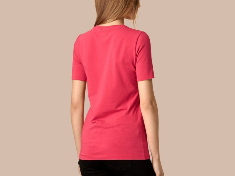 Bright rose Check Cuff Stretch Cotton T-Shirt Bright Rose - cell image 1