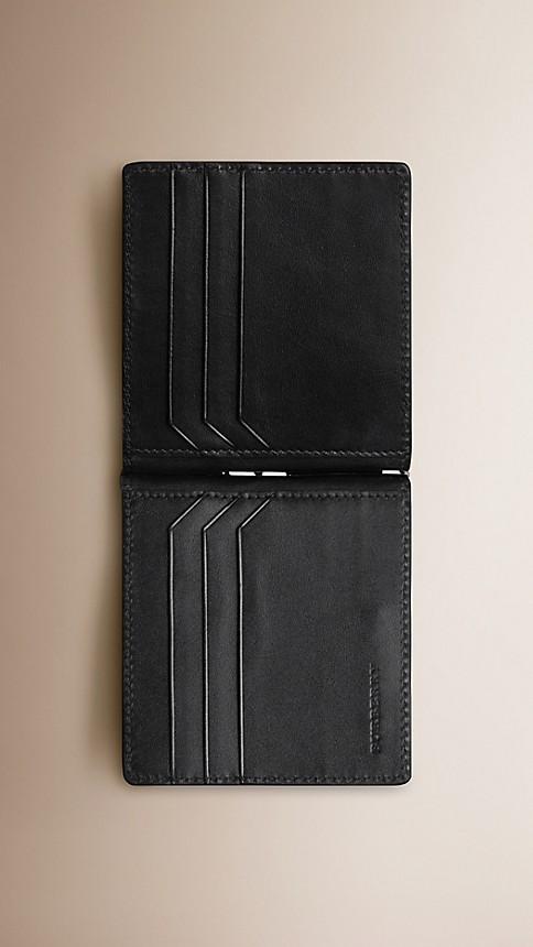 Black London Leather Money Clip Wallet - Image 3