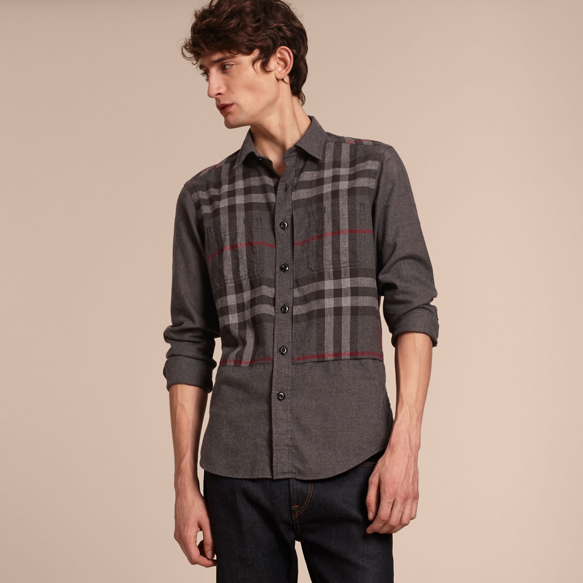 Charcoal melange Check Detail Cotton Flannel Shirt Charcoal Melange - gallery image 6