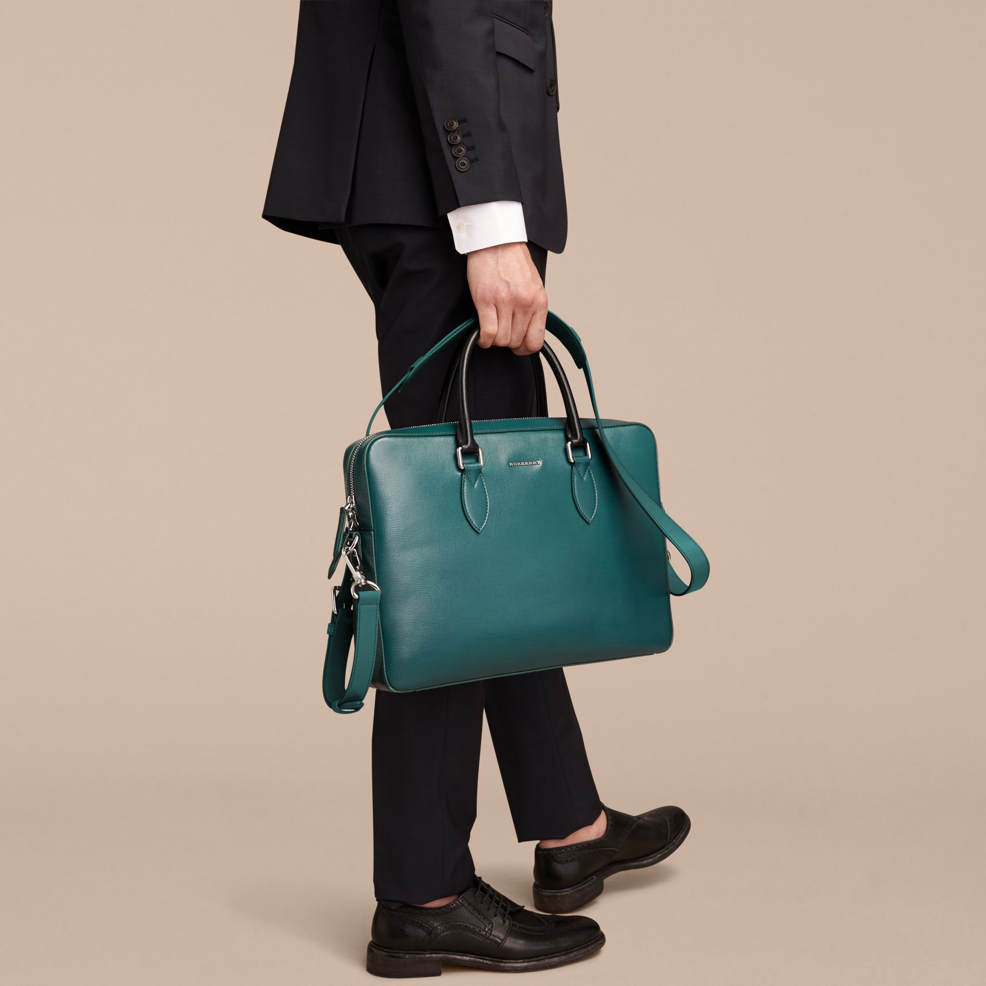 London Leather Briefcase in Dark Teal/black - Men | Burberry Hong Kong - gallery image 4