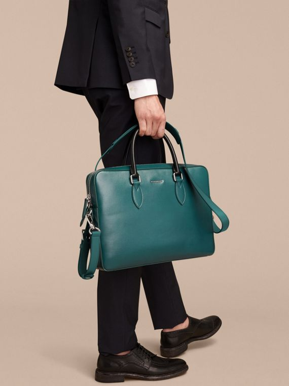 London Leather Briefcase in Dark Teal/black - Men | Burberry - cell image 3