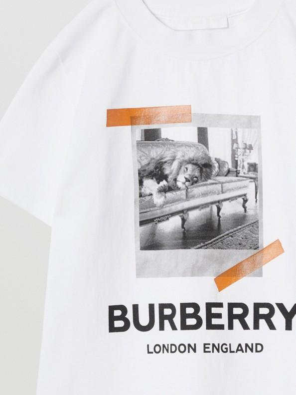 Vintage Polaroid Print Cotton T-shirt in White
