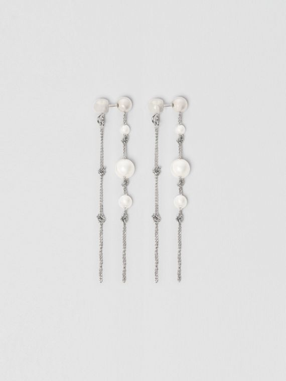 Faux Pearl Palladium-plated Drop Earrings in Palladio