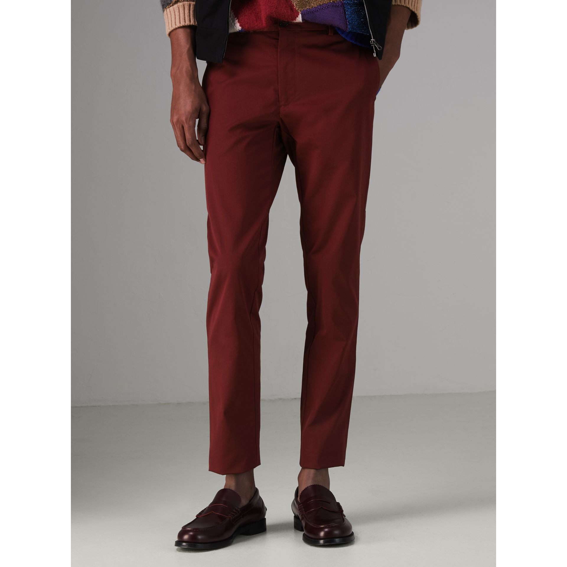 Slim Fit Cotton Chinos in Dark Crimson - Men | Burberry Australia - gallery image 4