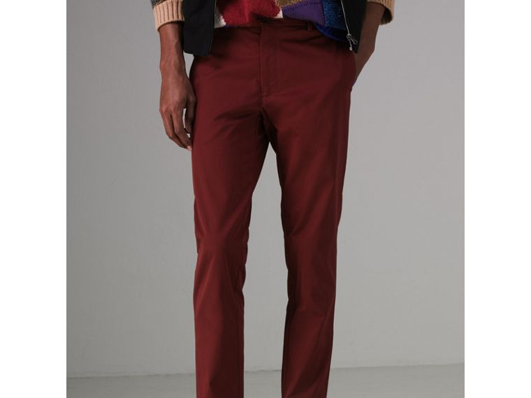Slim Fit Cotton Chinos in Dark Crimson - Men | Burberry - cell image 4