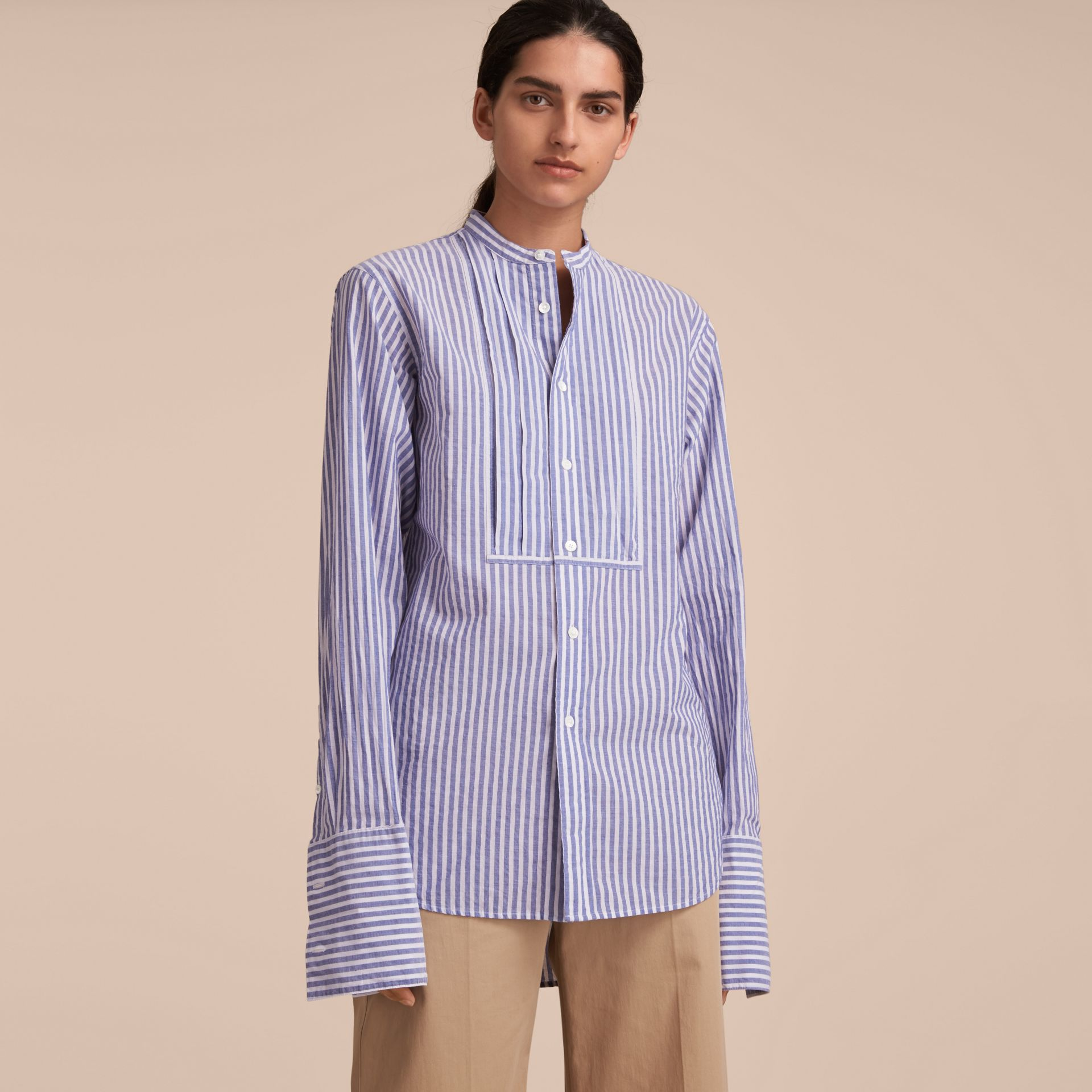 Unisex Grandad Collar Pleated Bib Striped Cotton Shirt in Pale Blue/white - Women | Burberry - gallery image 7