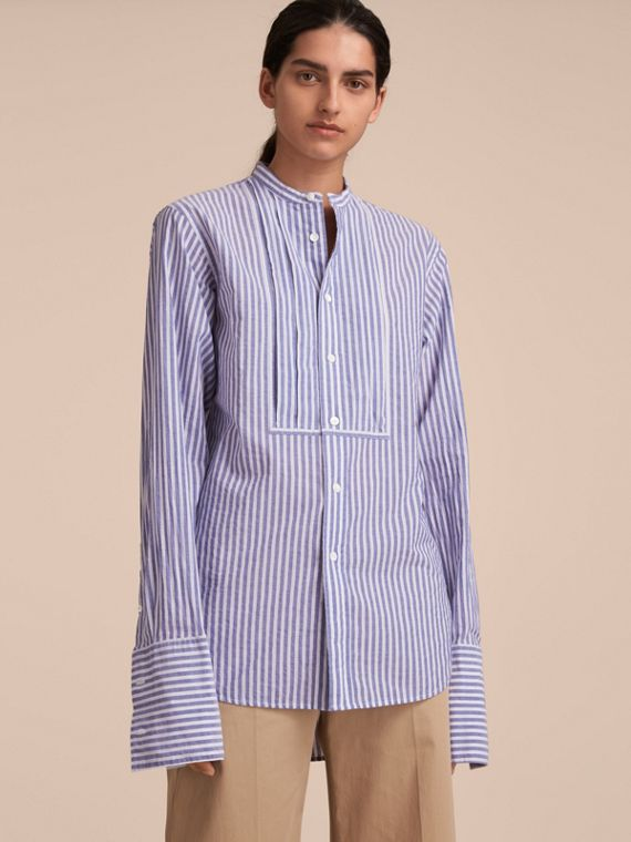 Unisex Grandad Collar Pleated Bib Striped Cotton Shirt