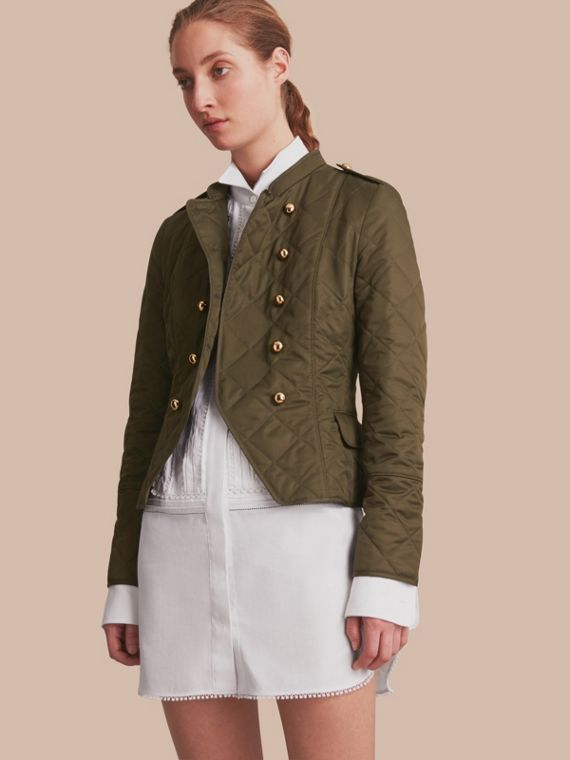 Double-breasted Quilted Military Jacket Dark Olive