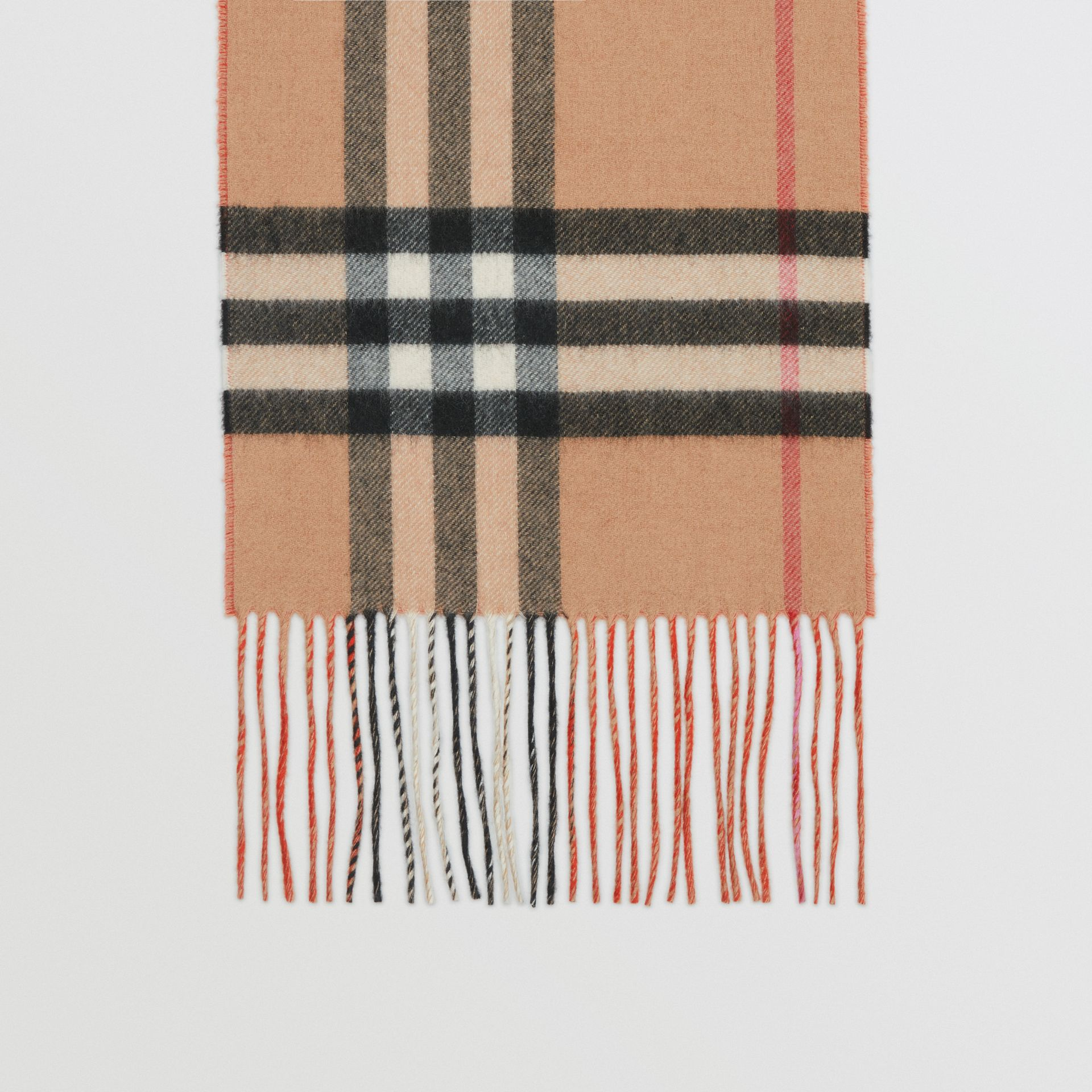 Long Reversible Colour Block Double-faced Cashmere Scarf in Bright Orange Red | Burberry - gallery image 4