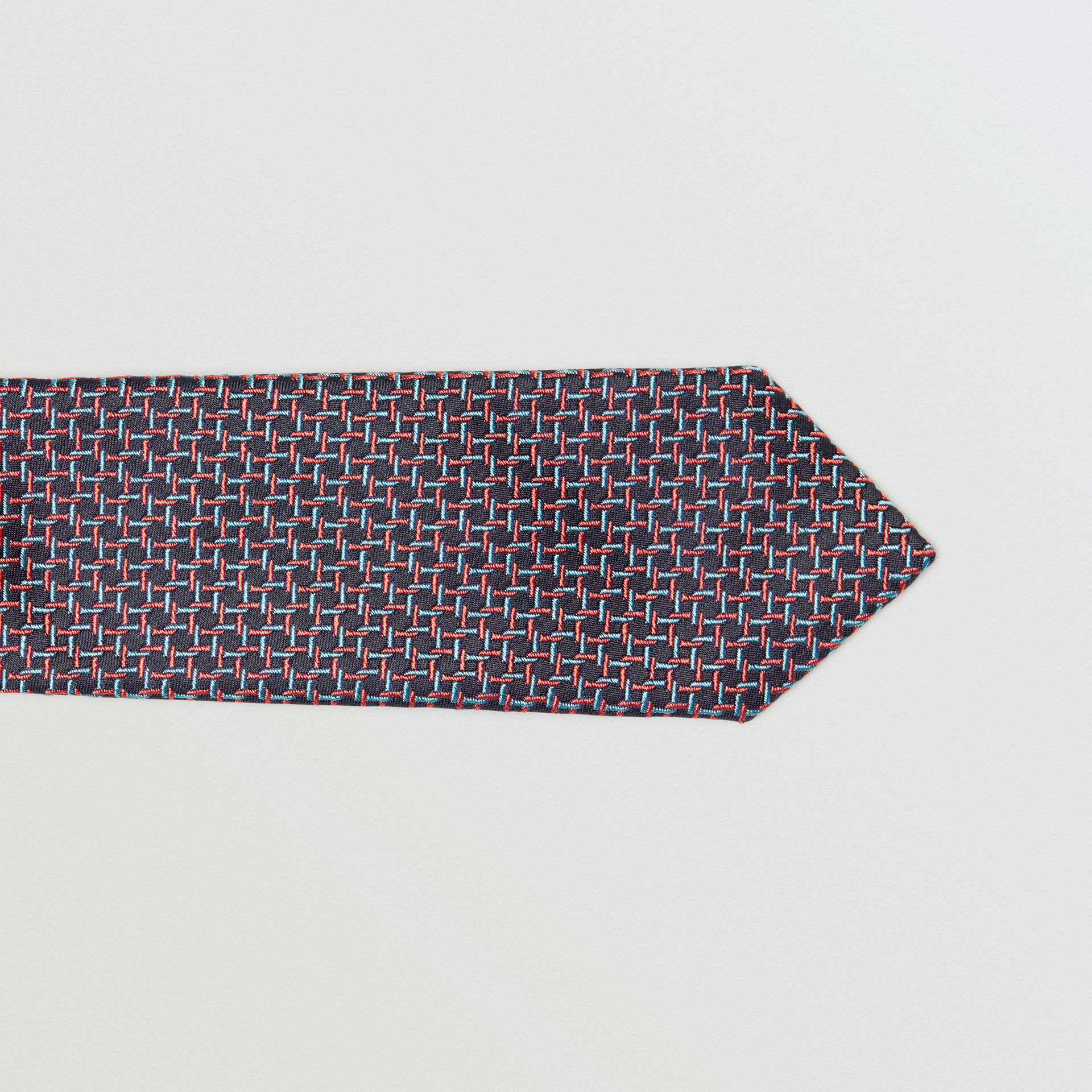 Slim Cut Micro Check Silk Jacquard Tie in Dark Navy - Men | Burberry United Kingdom - gallery image 1