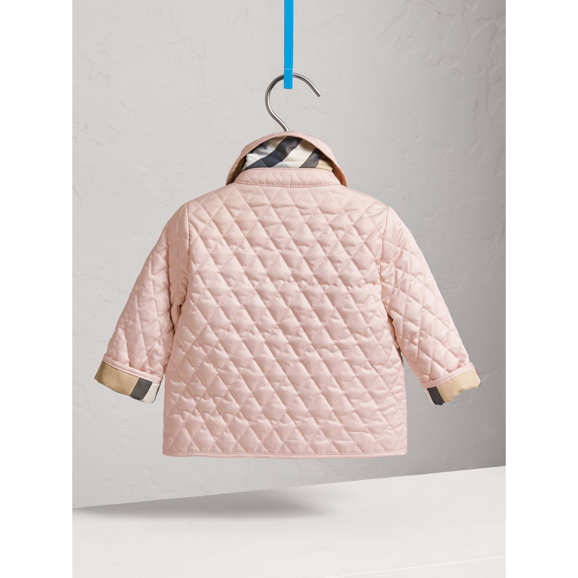 Check Detail Diamond Quilted Jacket in Powder Pink | Burberry Canada - gallery image 3