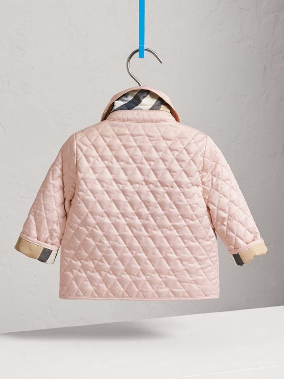 Check Detail Diamond Quilted Jacket in Powder Pink | Burberry Canada - cell image 3