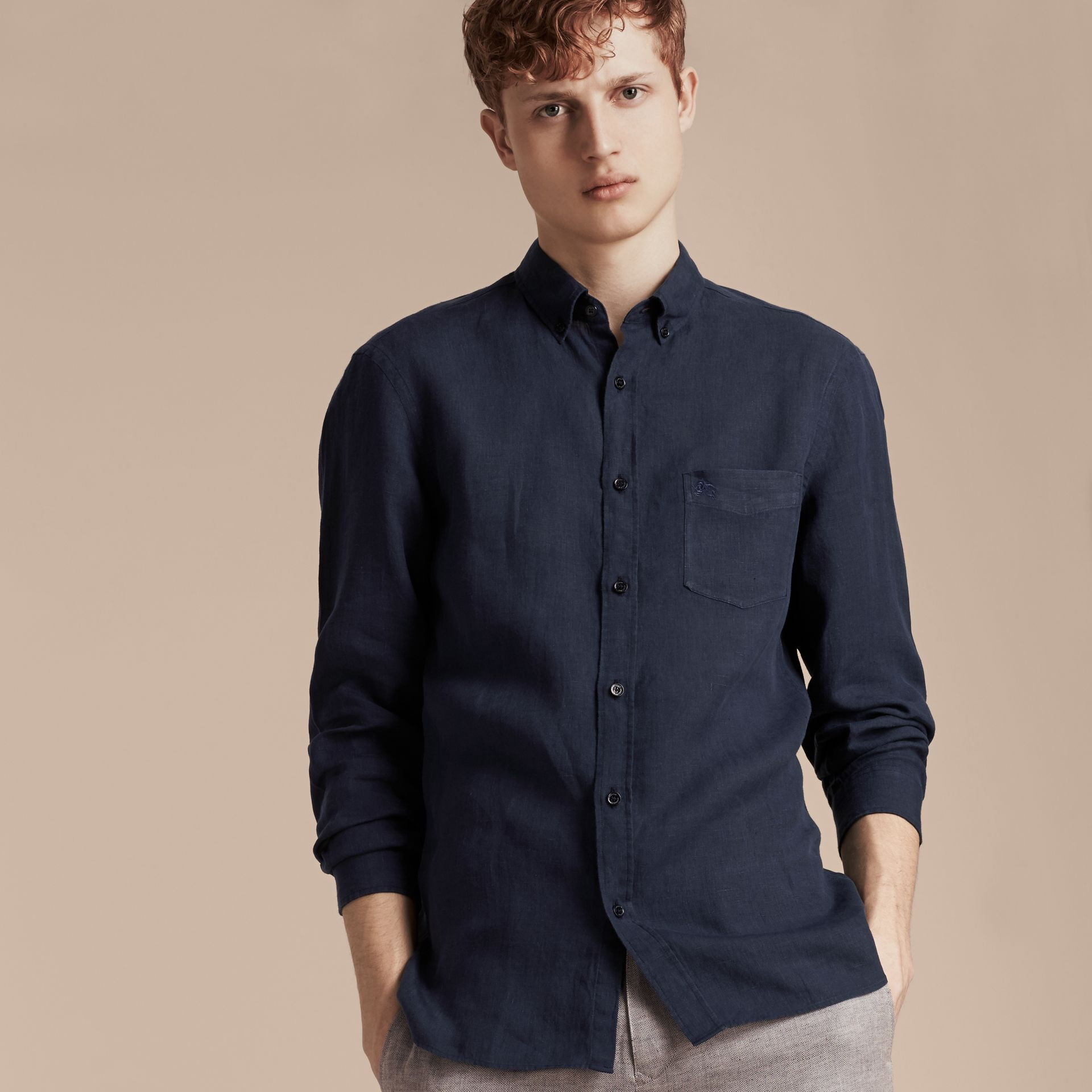 Navy Button-down Collar Linen Shirt Navy - gallery image 5