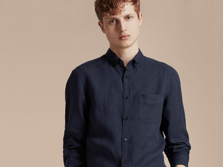 Navy Button-down Collar Linen Shirt Navy - cell image 4