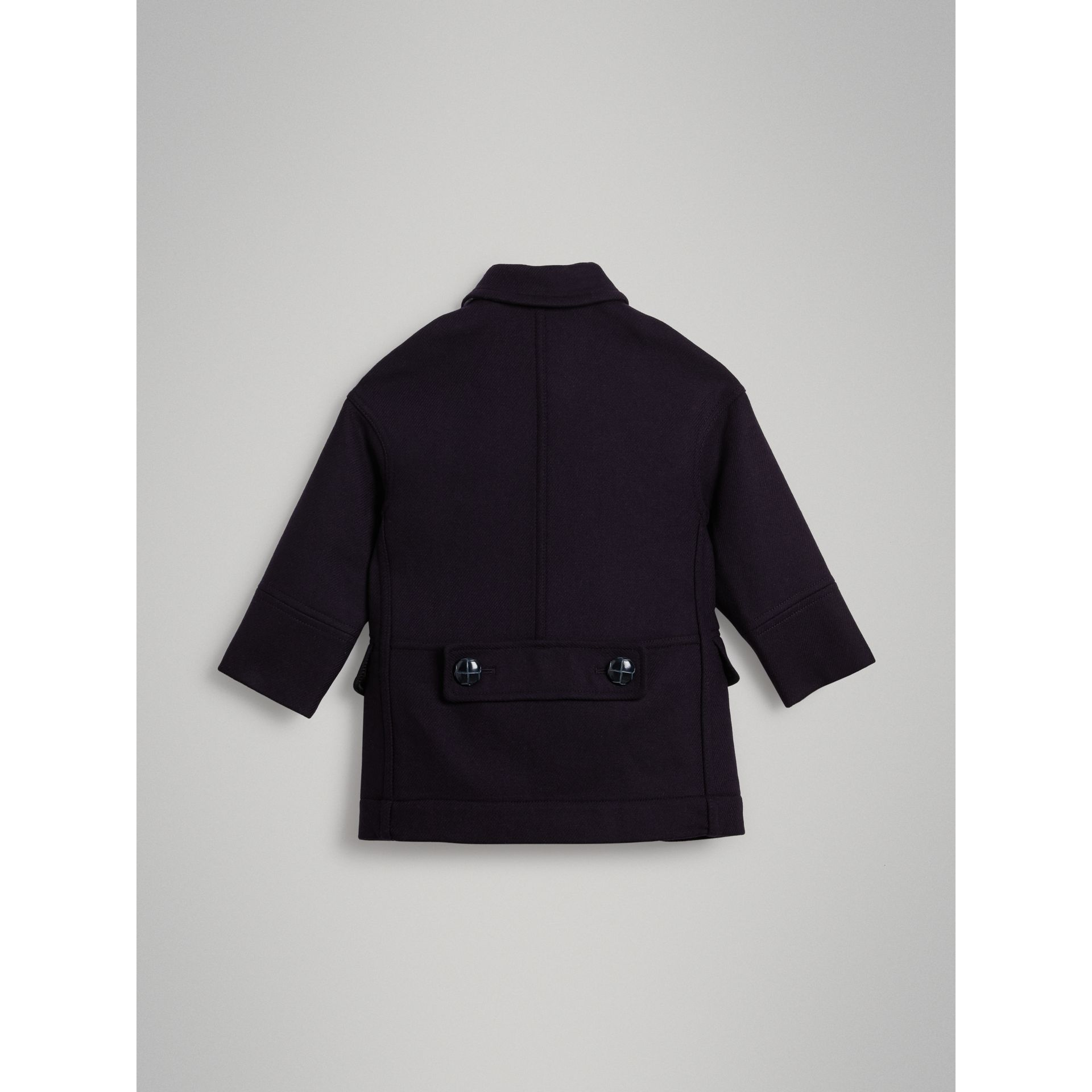 Double-faced Wool Pea Coat in Navy - Girl | Burberry - gallery image 4