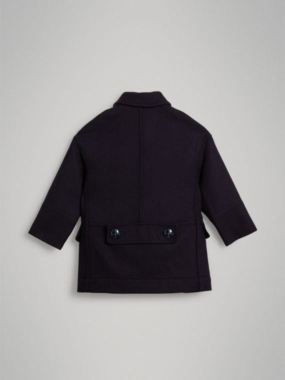 Double-faced Wool Pea Coat in Navy - Girl | Burberry Australia - cell image 3