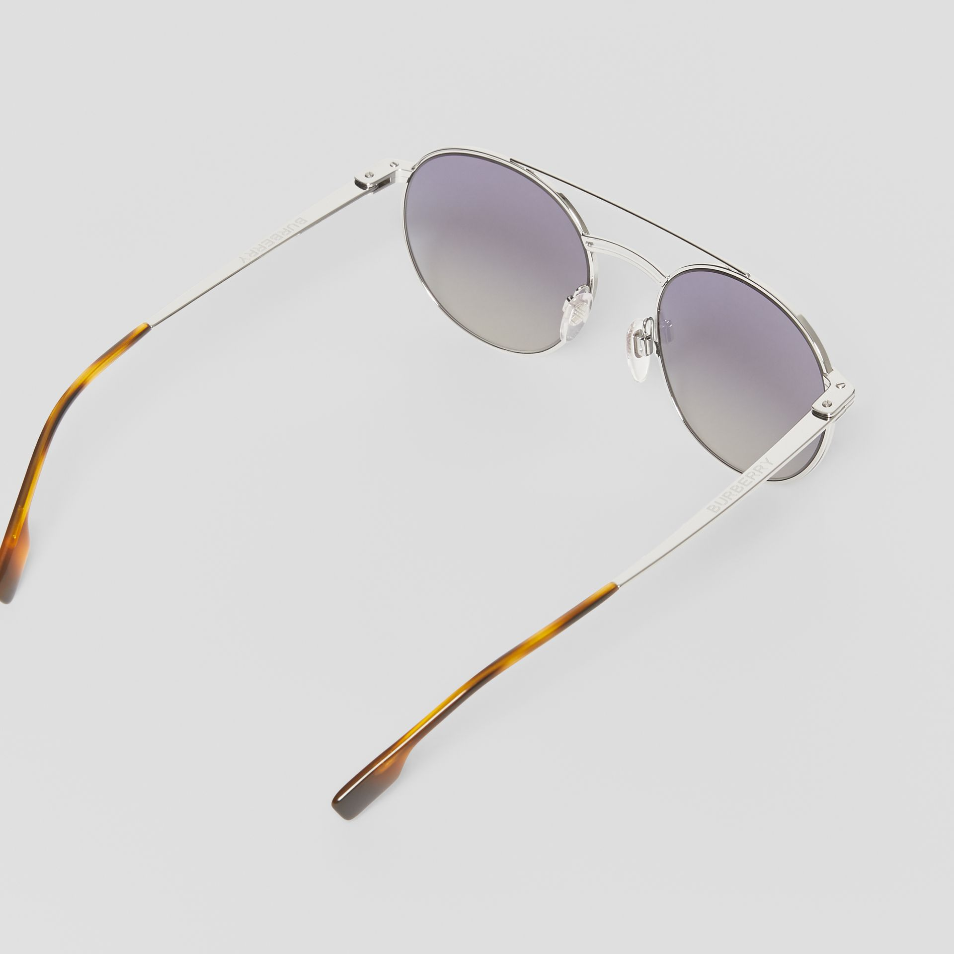Top Bar Detail Round Frame Sunglasses in Silver - Men | Burberry United Kingdom - gallery image 4