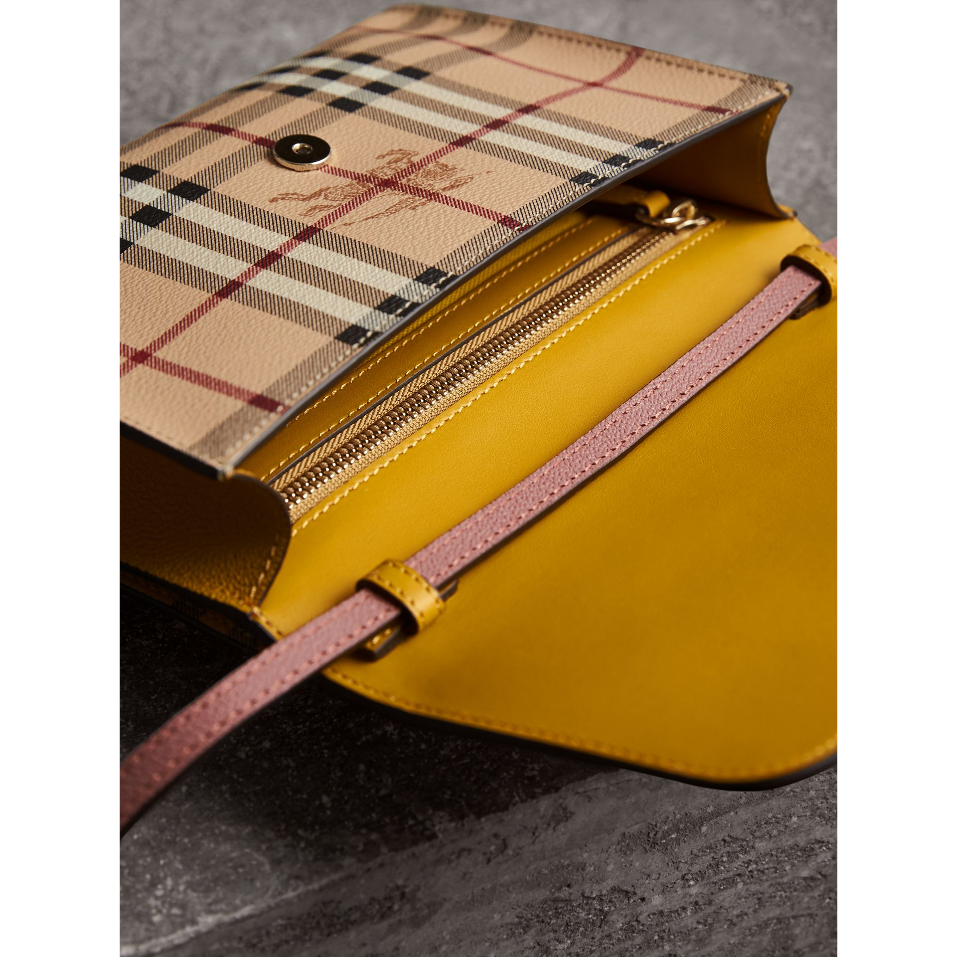 Haymarket Check and Leather Crossbody Bag in Cinnamon Red/multi - Women | Burberry - gallery image 6