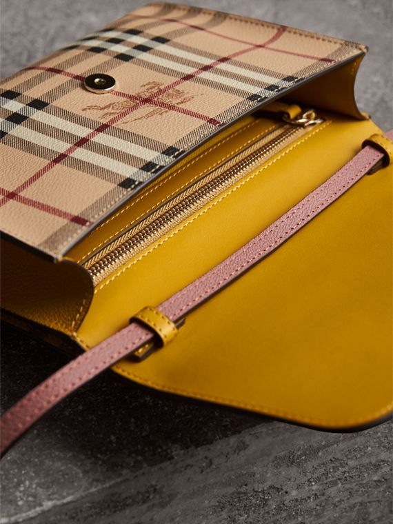 Haymarket Check and Leather Crossbody Bag in Cinnamon Red/multi - Women | Burberry - cell image 3