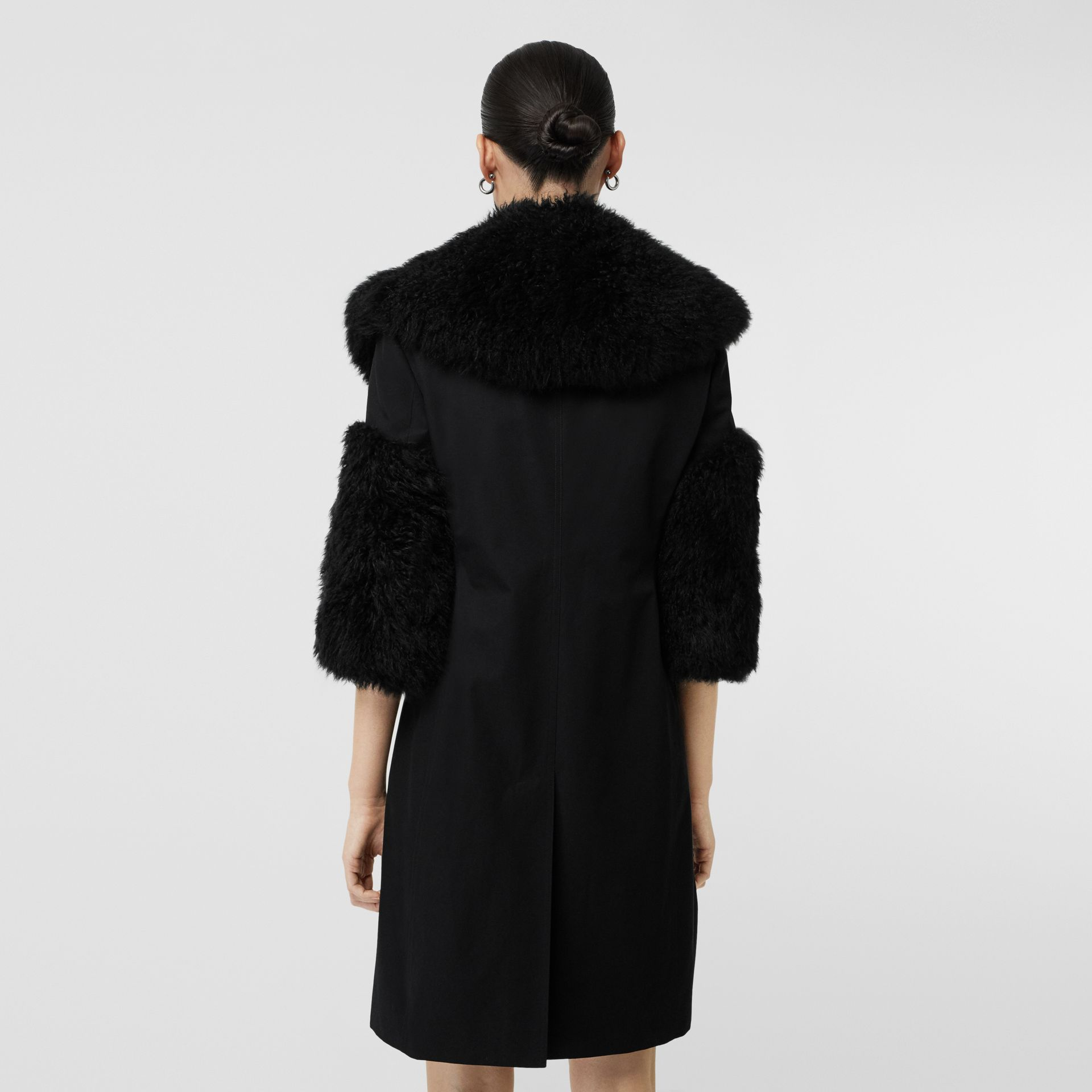 Goat Hair Trim Cotton Gabardine Coat in Black - Women | Burberry - gallery image 2