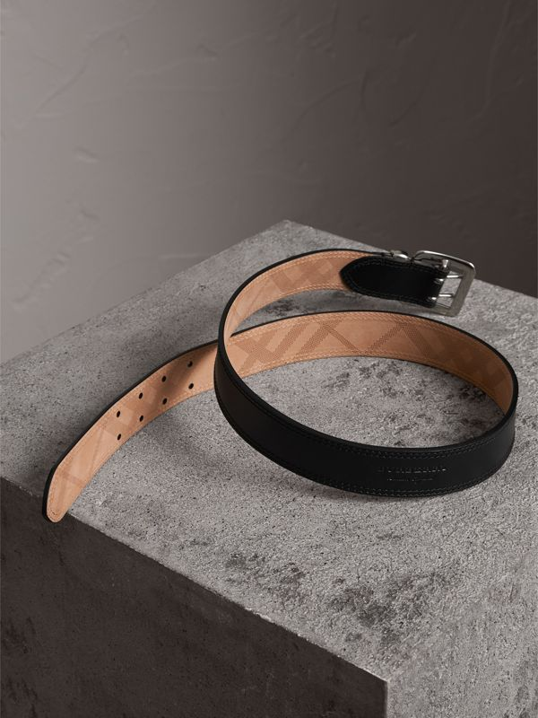 Topstitch Detail Leather Belt in Black - Women | Burberry United Kingdom - cell image 2