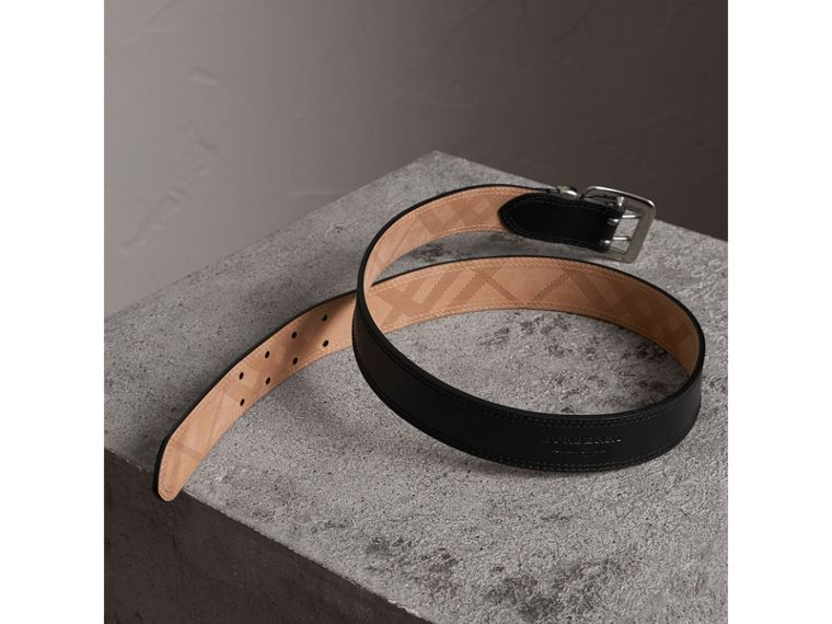 Topstitch Detail Leather Belt in Black - Women | Burberry - cell image 2
