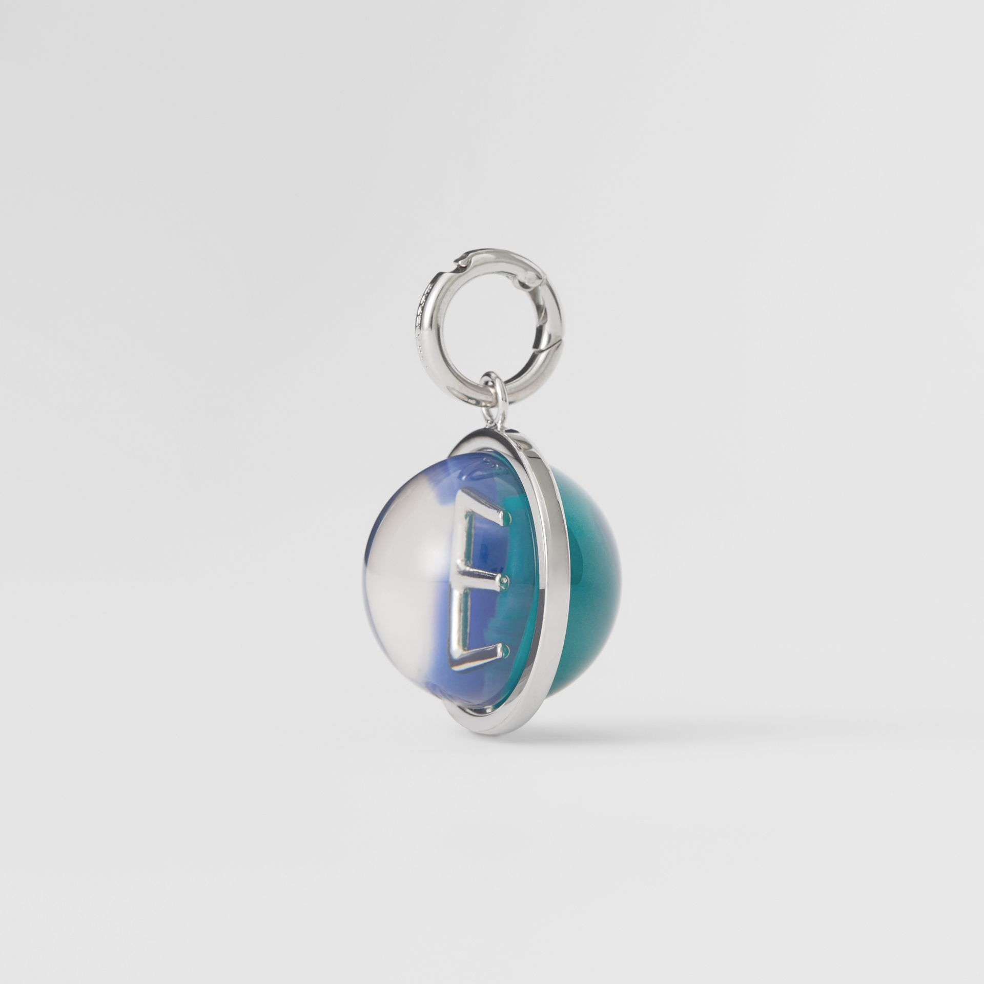 Marbled Resin 'E' Alphabet Charm in Palladio/ocean Blue - Women | Burberry - gallery image 4