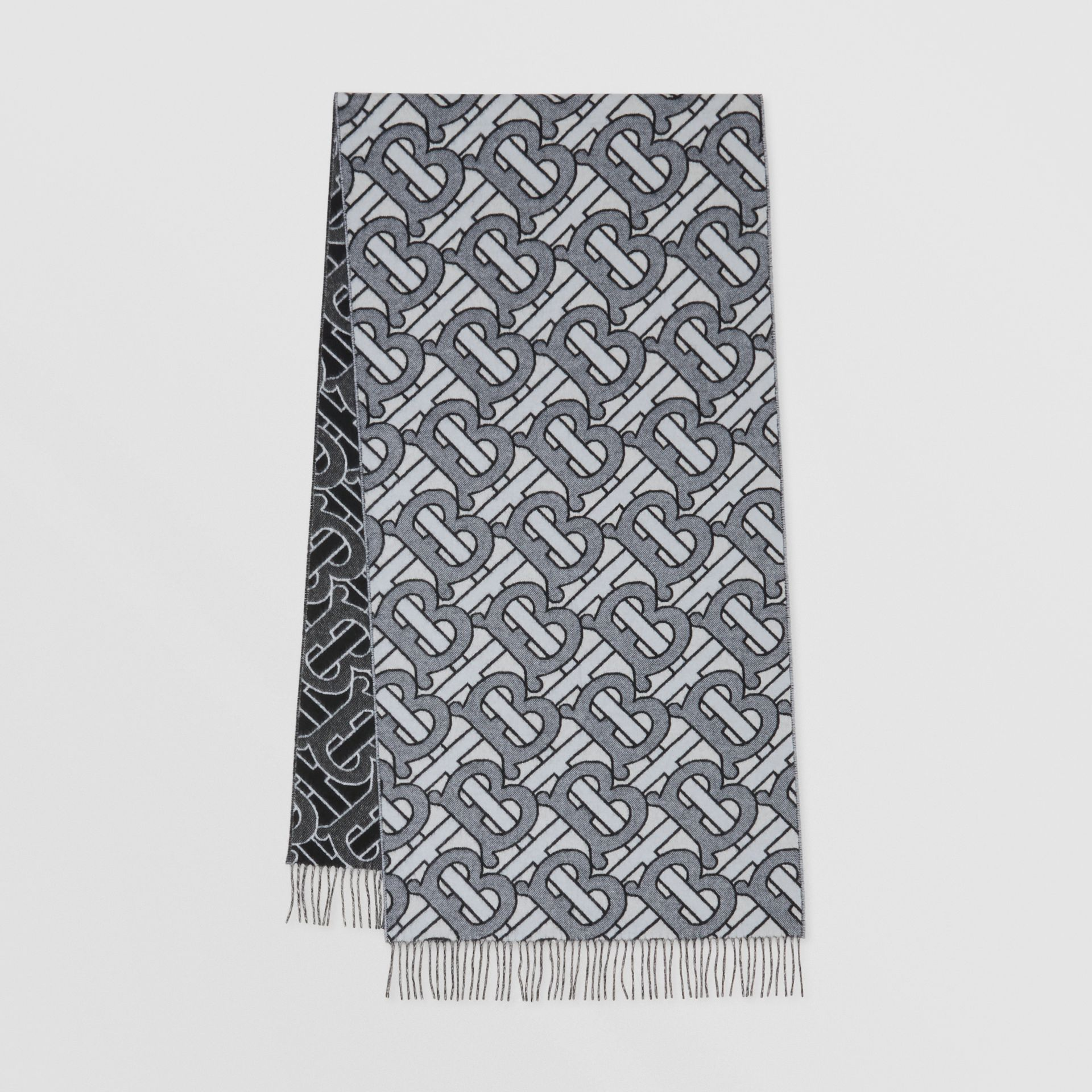 Monogram Cashmere Jacquard Scarf in Light Blue | Burberry Singapore - gallery image 0