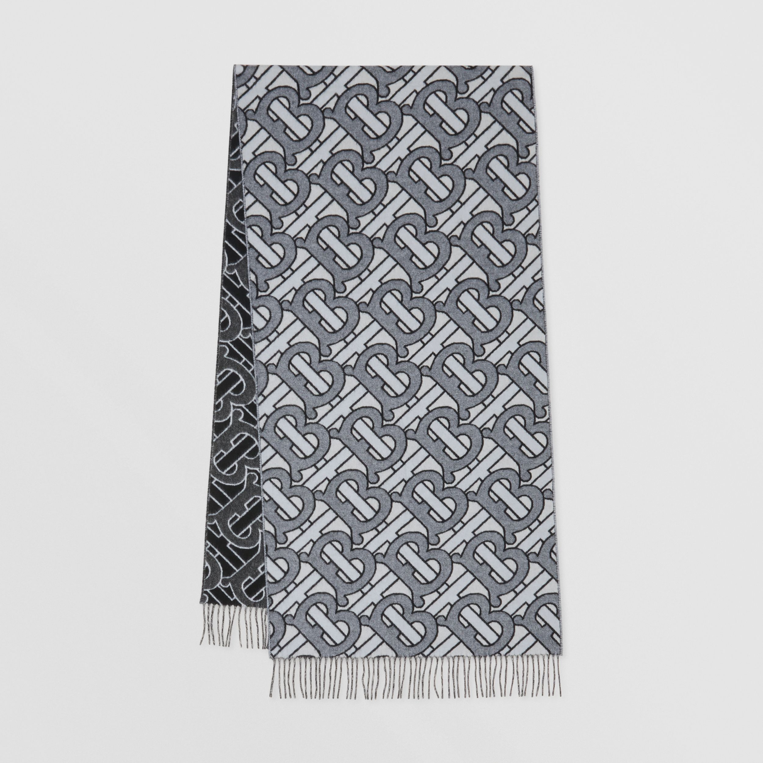 Monogram Cashmere Jacquard Scarf in Light Blue | Burberry - 1