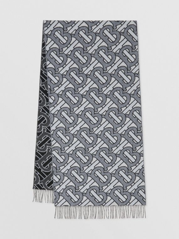 Monogram Cashmere Jacquard Scarf in Light Blue