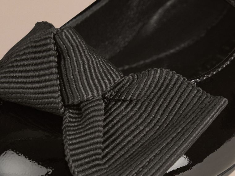 Black Bow Detail Leather Ballerinas - cell image 1