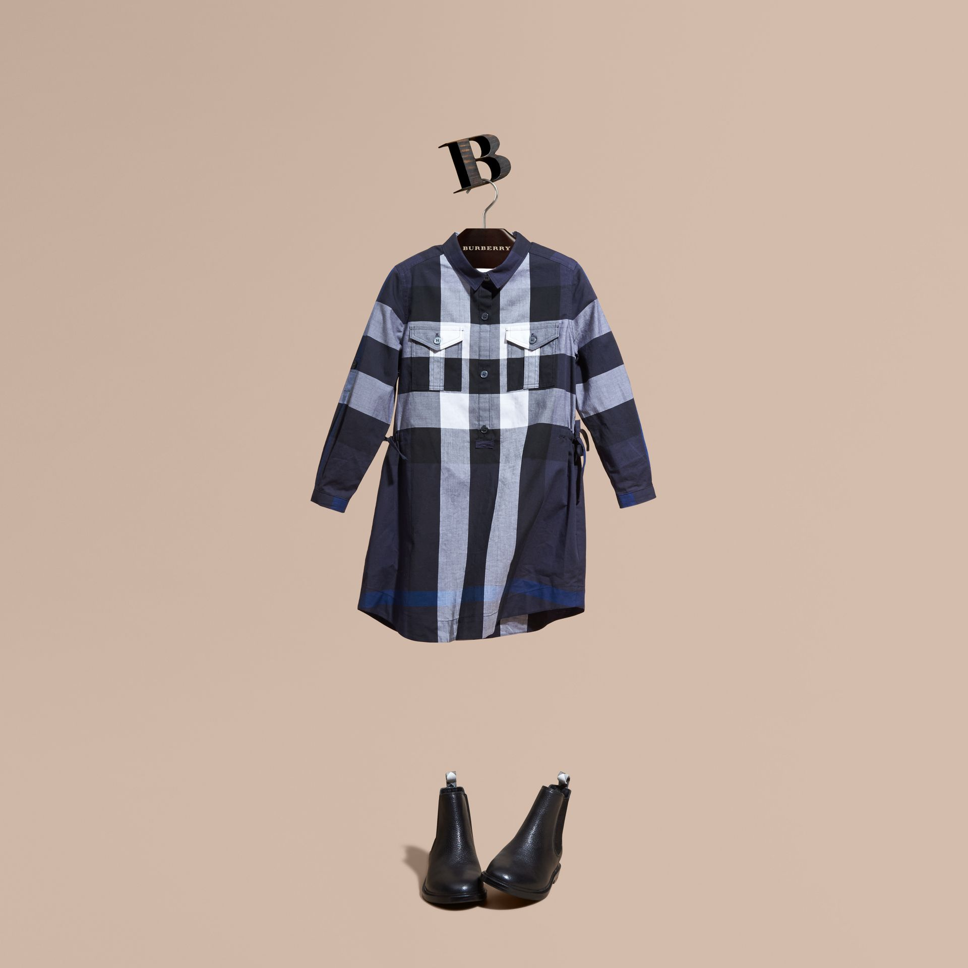 Check Cotton Shirt Dress Navy - gallery image 1